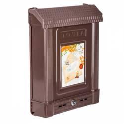 Ящик почтовый с замком декор коричневый Башпласт
