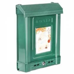 Ящик почтовый с замком декор темно-зеленый Башпласт