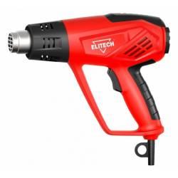 ELITECH Пистолет горячего воздуха, 2000Вт,120-500лм,50-600грС,гр/Фаренгейты,0.75кг,чем,4 нас,скребок,шпатель,LCD-диспл