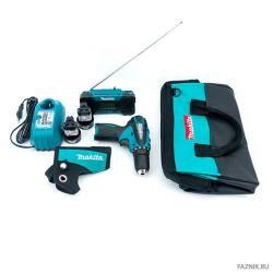 Makita Набор инструмента,2шт-дрель аккумуляторная DF330DWE+радио аккумуляторное MR051,сумка
